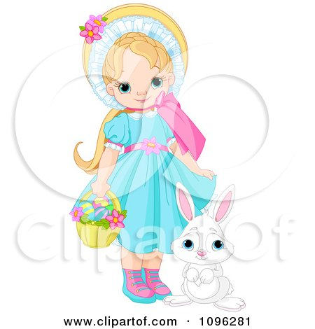 Pretty Girl With A Cute Bunny And A Basket Of Easter Eggs Posters, Art Prints