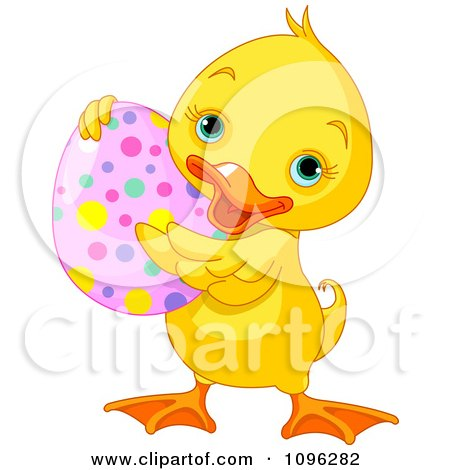 Clipart Cute Easter Duck Holding A Spotted Egg - Royalty Free Vector Illustration by Pushkin