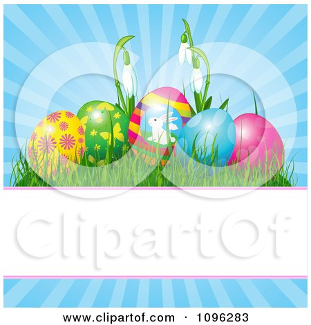 Clipart Decorated Easter Eggs And Snowdrop Flowers Over Blue Rays With Copyspace - Royalty Free Vector Illustration by Pushkin