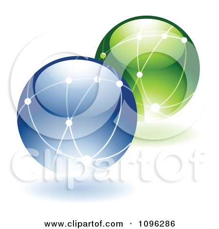 Clipart 3d Shiny Ecology Or Networking Globes - Royalty Free Vector Illustration by TA Images