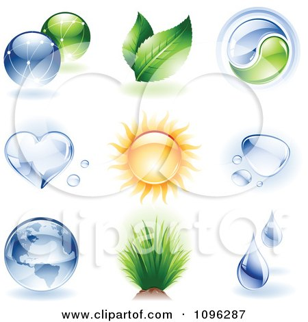 Clipart 3d Shiny Ecology And Nature Icons - Royalty Free Vector Illustration by TA Images