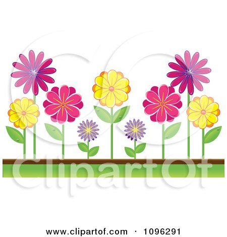 Clipart Colorful Daisies In A Garden - Royalty Free Vector Illustration by Pams Clipart