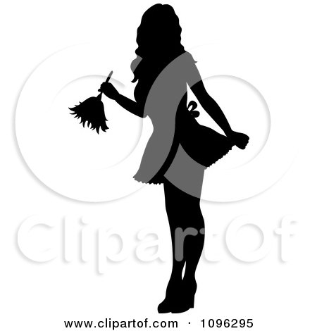 Clipart Sexy Black Silhouetted Fench Maid House Keeper Or Housewife Cleaning With A Duster 1 - Royalty Free Vector Illustration by Pams Clipart