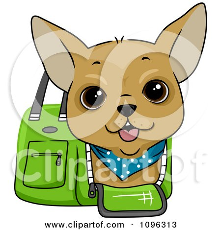 Clipart Happy Chihuahua In A Green Dog Carrier Bag - Royalty Free Vector Illustration by BNP Design Studio