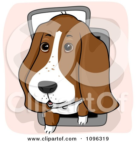 Clipart Cute Basset Hound Using A Pet Door - Royalty Free Vector Illustration by BNP Design Studio