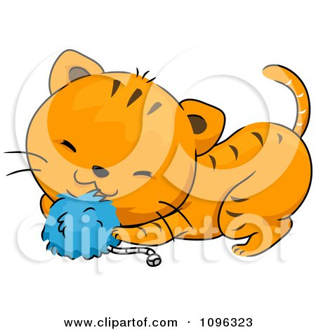 Clipart Cute Ginger Cat Playing With A Blue Catnip Toy - Royalty Free Vector Illustration by BNP Design Studio