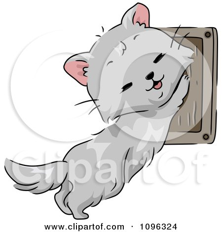 Clipart Cute Cat Using A Wall Mounted Scratching Pad - Royalty Free Vector Illustration by BNP Design Studio