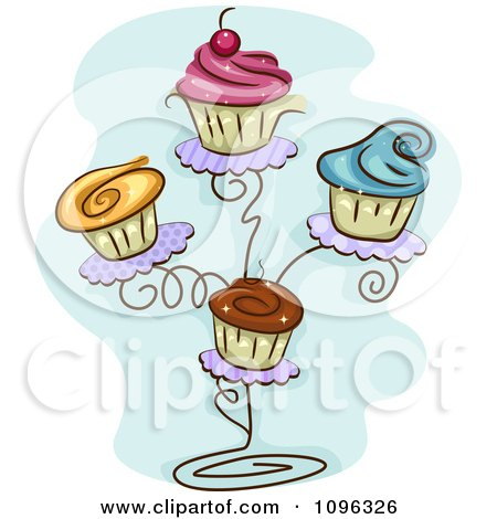 Clipart Cupcakes With Colorful Frosting On A Stand - Royalty Free Vector Illustration by BNP Design Studio