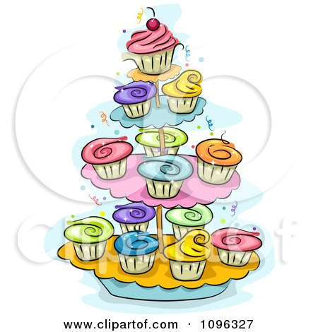 Layers Of Cupcakes With Colorful Frosting On A Stand Posters, Art Prints