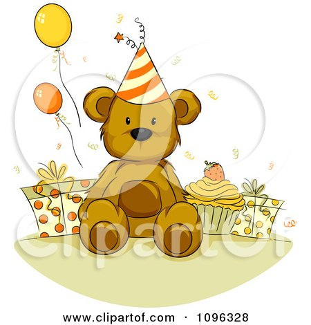 Clipart Teddy Bear With A Birthday Cupcake Presents And Party Balloons - Royalty Free Vector Illustration by BNP Design Studio