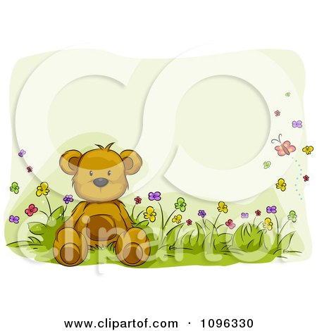 Clipart Teddy Bear Sitting In A Flower Bed With Butterflies And Copyspace - Royalty Free Vector Illustration by BNP Design Studio