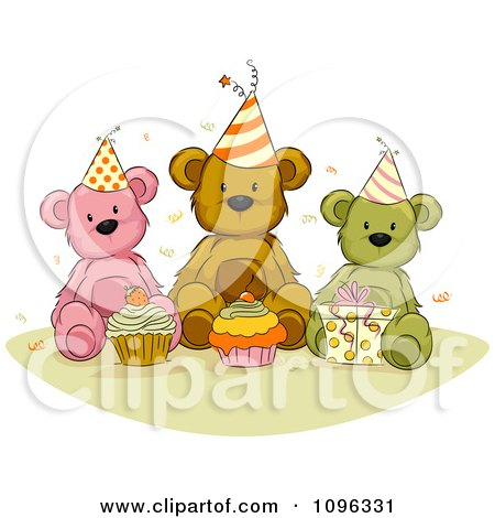 Clipart Teddy Bears With Birthday Cupcakes Presents And Confetti - Royalty Free Vector Illustration by BNP Design Studio