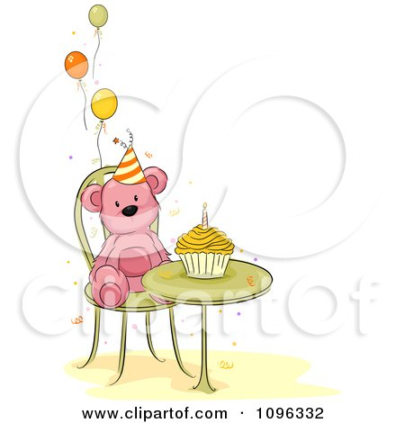 Clipart Pink Teddy Bear At A Table With A Birthday Cupcake And Party Balloons - Royalty Free Vector Illustration by BNP Design Studio