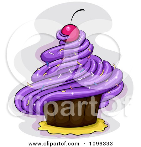 Clipart Purple Frosted Cupcake With A Cherry And Sprinkles - Royalty Free Vector Illustration by BNP Design Studio