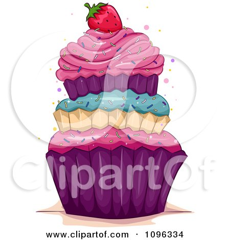 Clipart Triple Layered Cupcake Topped With A Strawberry And Sprinkles - Royalty Free Vector Illustration by BNP Design Studio