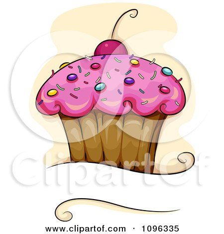 Clipart Pink Frosted Cupcake With Sprinkles And A Cherry Over Copyspace - Royalty Free Vector Illustration by BNP Design Studio