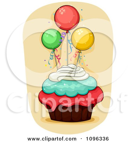 Clipart Triple Frosted Cupcake Topped With Party Balloons - Royalty Free Vector Illustration by BNP Design Studio
