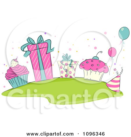 Clipart Pink Beige And Turquoise Birthday Cupcakes Gifts And Balloons - Royalty Free Vector Illustration by BNP Design Studio