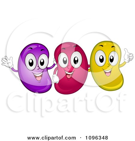 Clipart Happy Jelly Beans Smiling Waving And Holding A Thumb Up - Royalty Free Vector Illustration by BNP Design Studio