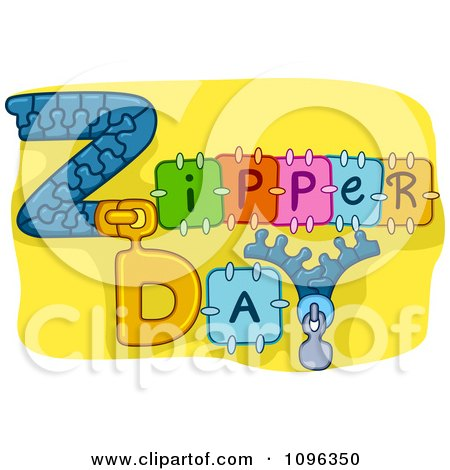 Clipart Zipper Day Text On Yellow - Royalty Free Vector Illustration by BNP Design Studio