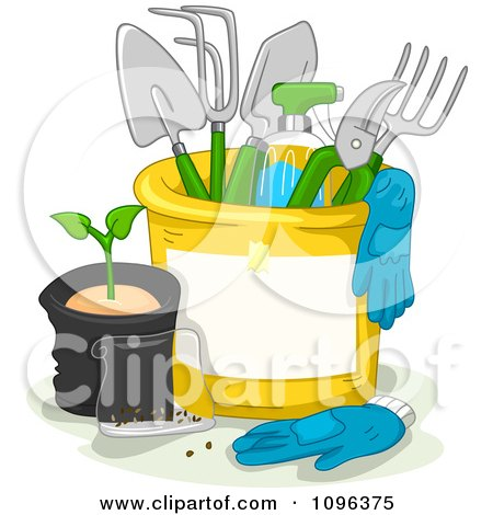 Clipart Bucket With Gloves And Gardening Tools - Royalty Free Vector Illustration by BNP Design Studio