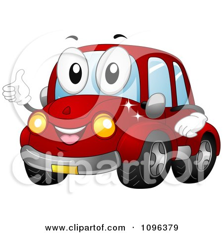 Clipart Happy Red Car Holding A Thumb Up And Smiling - Royalty Free Vector Illustration by BNP Design Studio