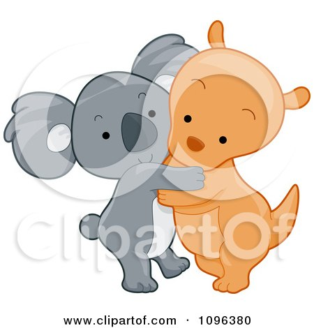 Clipart Cute Koala And Kangaroo Hugging - Royalty Free Vector Illustration by BNP Design Studio
