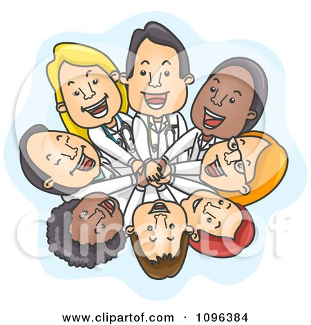 Clipart Happy Team Of Doctors Stacking Hands And Looking Up - Royalty Free Vector Illustration by BNP Design Studio