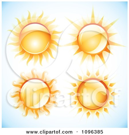 Clipart 3d Blazing Summer Suns Over Gradient Blue - Royalty Free Vector Illustration by TA Images