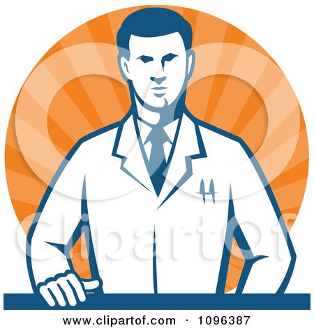 Clipart Retro Male Scientist Resting One Hand On A Laboratory Counter Over Orange Rays - Royalty Free Vector Illustration by patrimonio