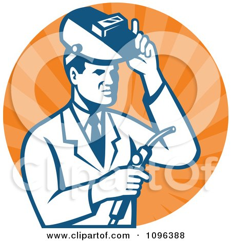 Clipart Retro Male Scientist Welding In A Laboratory Over Orange Rays - Royalty Free Vector Illustration by patrimonio