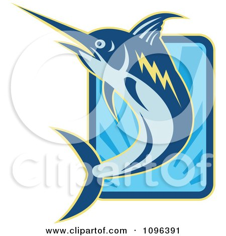 Clipart Retro Blue Marlin Leaping Over A Rectangle Of Blue Rays - Royalty Free Vector Illustration by patrimonio