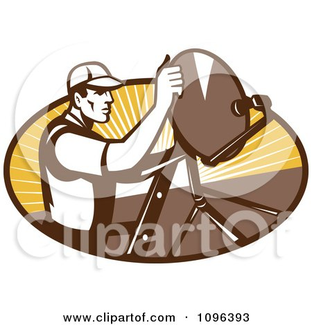 Clipart Retro Satellite Dish Installer Or Repair Man Over An Oval With Rays - Royalty Free Vector Illustration by patrimonio