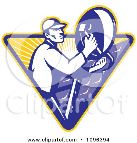 Clipart Retro Satellite Dish Installer Or Repair Man Over A Triangle With Rays - Royalty Free Vector Illustration by patrimonio