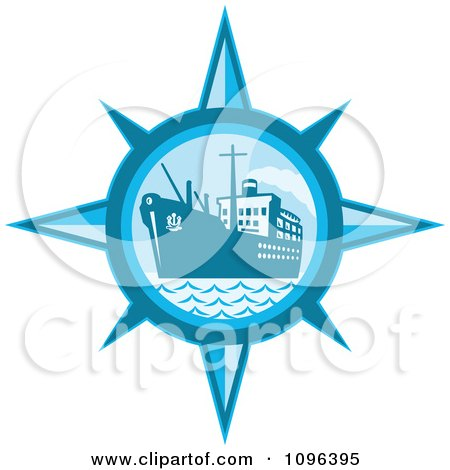 Clipart Retro Blue Cargo Ship Or Ocean Liner Inside A Compass - Royalty Free Vector Illustration by patrimonio