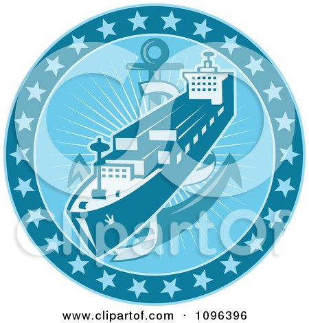 Clipart Retro Blue Cargo Ship Or Ocean Liner With An Anchor And Stars - Royalty Free Vector Illustration by patrimonio
