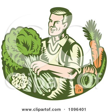 Clipart Retro Woodcut Organic Farmer With With Leafy Green And Root Vegetables - Royalty Free Vector Illustration by patrimonio