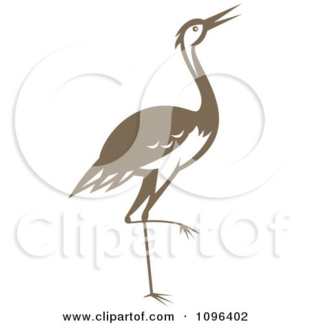 Clipart Retro Woodcut Styled Brown Crane Or Heron Bird - Royalty Free Vector Illustration by patrimonio