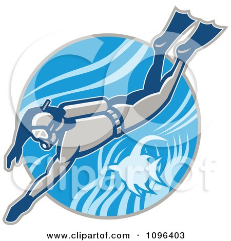 Clipart Retro Scuba Diver Swimming With An Angel Fish - Royalty Free Vector Illustration by patrimonio
