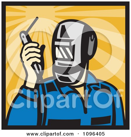 Clipart Retro Welder Holding A Welding Torch Over Rays - Royalty Free Vector Illustration by patrimonio