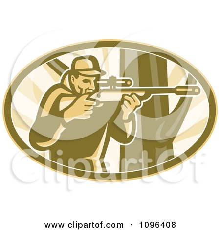 Clipart Retro Hunter Aiming A Telescope Rifle By A Tree - Royalty Free Vector Illustration by patrimonio