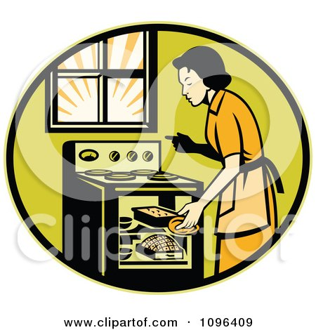 Clipart Retro Housewife Cooking Fresh Bread In An Oven - Royalty Free Vector Illustration by patrimonio