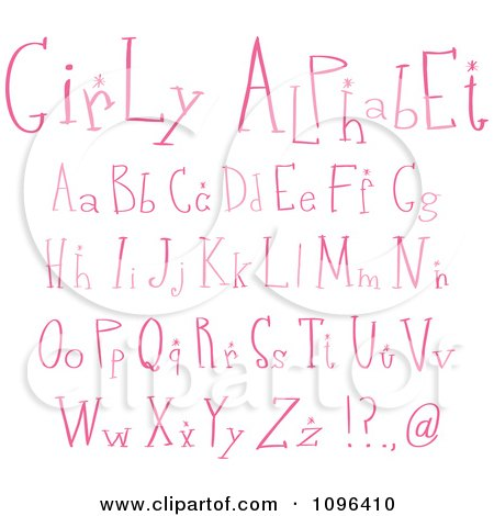 Clipart Pink Girly Lowercase And Capital Letters - Royalty Free Vector Illustration by yayayoyo