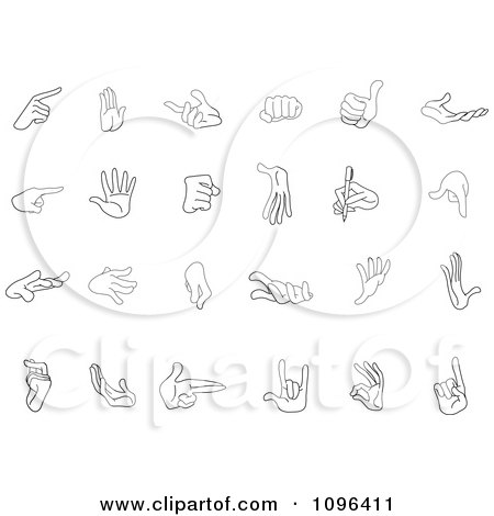 Clipart Outlined Black And White Hand Gestures - Royalty Free Vector Illustration by yayayoyo
