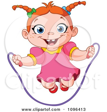Clipart Happy Girl Playing With A Jump Rope - Royalty Free Vector Illustration by yayayoyo