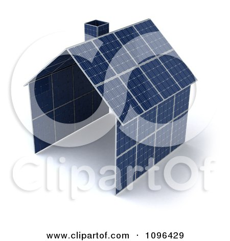 Clipart 3d House Constructed With Solar Panels - Royalty Free CGI Illustration by Julos