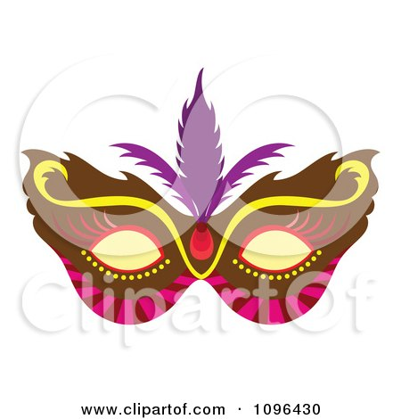 Clipart Brown Pink And Yellow Mardi Gras Face Mask With Purple Feathers - Royalty Free Vector Illustration by Cherie Reve