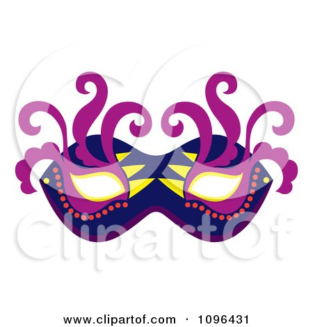 Clipart Blue Purple And Yellow Mardi Gras Face Mask With Swirls - Royalty Free Vector Illustration by Cherie Reve