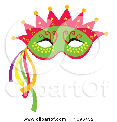 Clipart Green Mardi Gras Face Mask With A Crown And Streamers - Royalty Free Vector Illustration by Cherie Reve