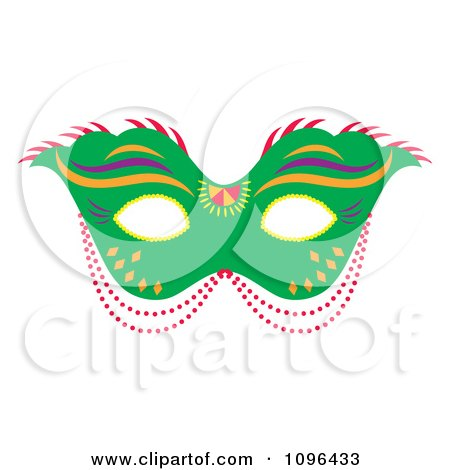 Clipart Green Mardi Gras Face Mask With Beads - Royalty Free Vector Illustration by Cherie Reve